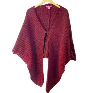 Betsey Johnson Crimson Knit Poncho